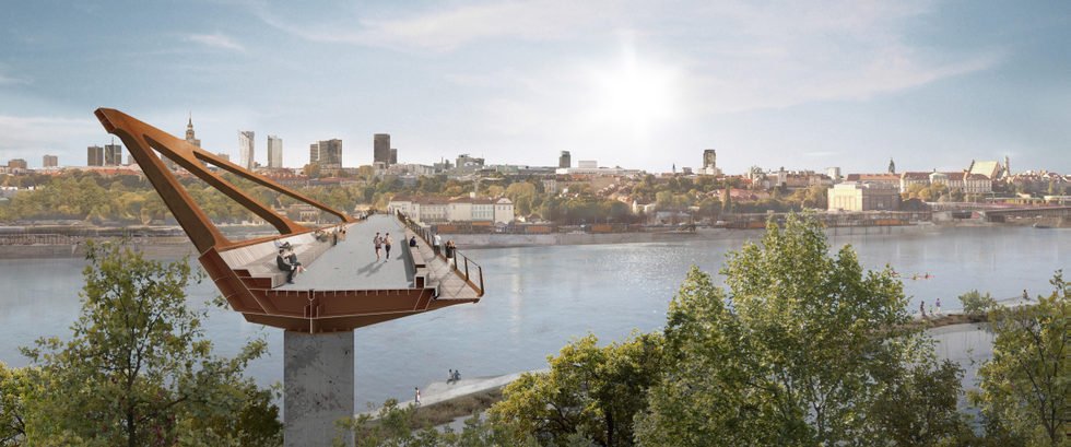 Nowy pieszo-rowerowy most przez Wisłę w Warszawie